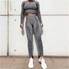 Seamless Tops And Leggings 2 Pieces Set - Dark Gray