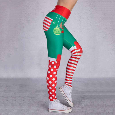 Women Print Christmas Leggings - Red