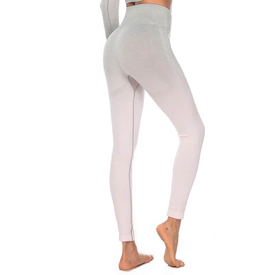High Waisted Workout Leggings - Pink Gray