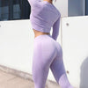 Seamless Tops And Leggings 2 Pieces Set - Purple