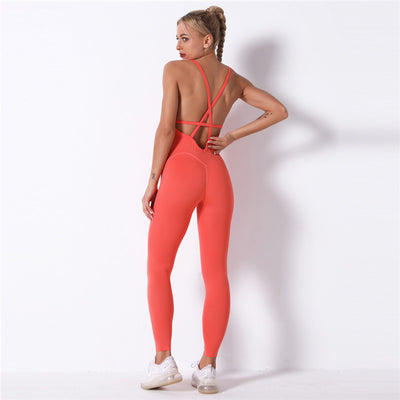 Crisscross Open-Back Insert Jumpsuit -Orange