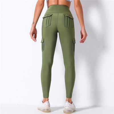 High Waist Leggings With Pocket -Green