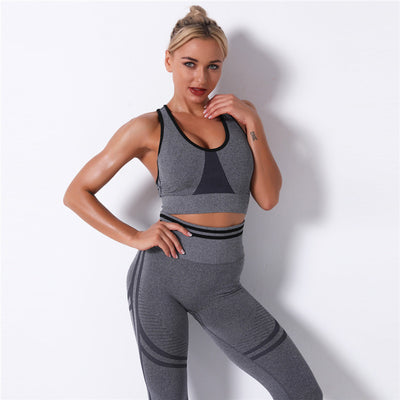 Women Sexy Fitness Sets High Waist Push Up Leggings Workout Bra 2 Piece of Sets Casual Tracksuit Female Sportswear -Gray