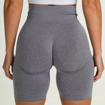 Women Seamless Gym Shorts - Light Gray
