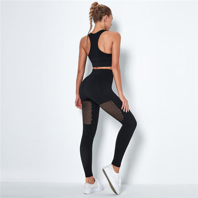 Women's Seamless Clothing Gym Set- Black