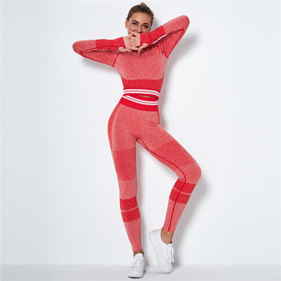 Ombre Seamless Sports Set Fitness Sports Suits Gym Clothes Fitness Long Sleeve Shirts High Waist Running Leggings Workout Sets -Red