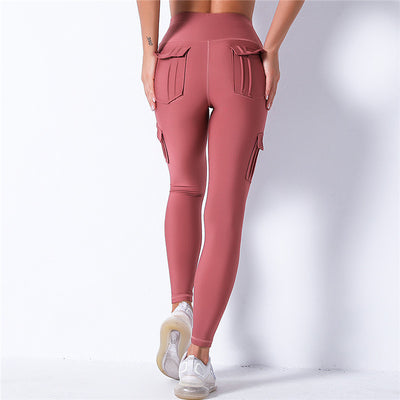 High Waist Leggings With Pocket -Pink