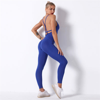 Crisscross Open-Back Insert Jumpsuit -Blue