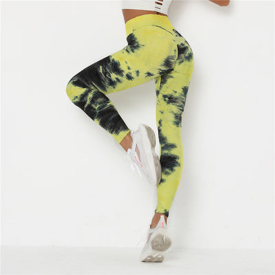 Women Push Up Tie Dye Leggings Femme Fitness Pant Legging With Pocket Solid High Waist Sportswear Breathable Patchwork Leggings