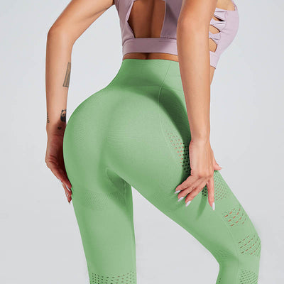 High Waist Gym Seamless Leggings-Green