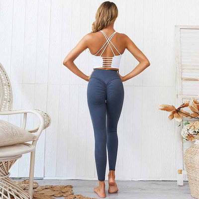 Women Push Up Yoga Pants  High Waist - Blue