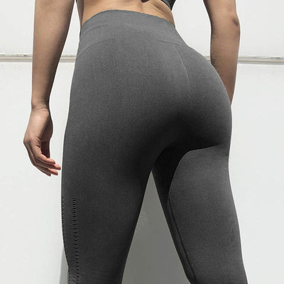 Women Seamless Leggings Hollow Out  - Black