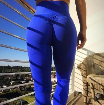 Women High Waist Leggings - Bodybuilding  - Blue
