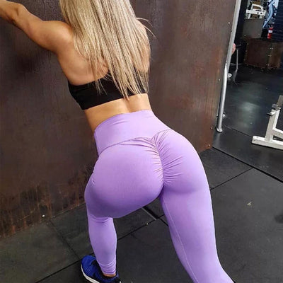 Women High Waist Leggings - Bodybuilding  - Light Purple