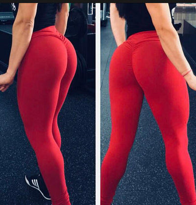 Women High Waist Leggings - Bodybuilding  - Red