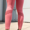 Women Seamless Leggings Hollow Out  - Pink