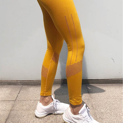 Women Seamless Leggings Hollow Out  - Yellow