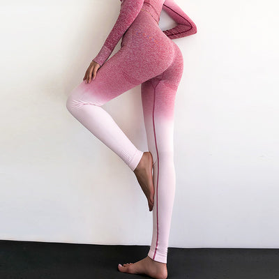 High Waisted Workout Leggings - Rose Red