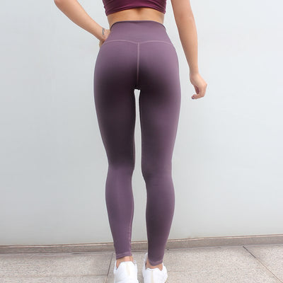 Solid Color Patchwork Leggings - Purple