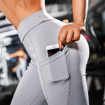 Yoga Sport Leggings With Phone Pockets - Gray