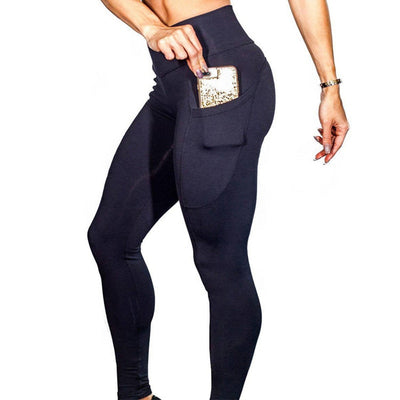 Yoga Sport Leggings With Phone Pockets - Blac