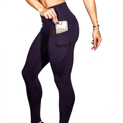 Yoga Sport Leggings With Phone Pockets - Purple
