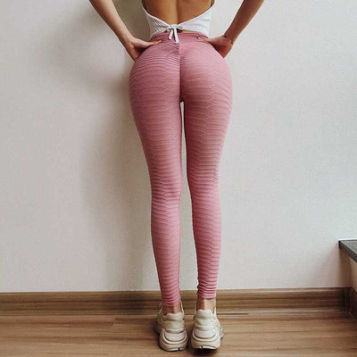 Solid High Waist Sports Pants - Pink