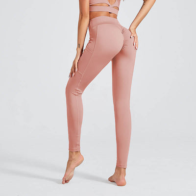 Women Workout Sports Leggings With Pocket - Pink