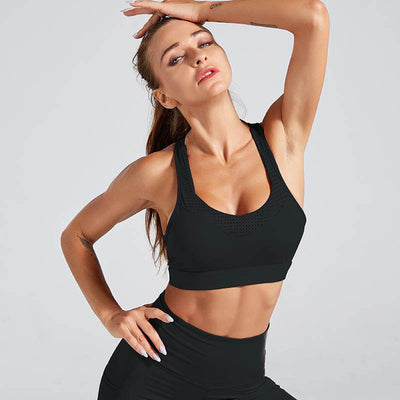 Back Strap Sports Bra Push Up Tank Top - Black