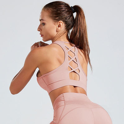 Back Strap Sports Bra Push Up Tank Top-Pink