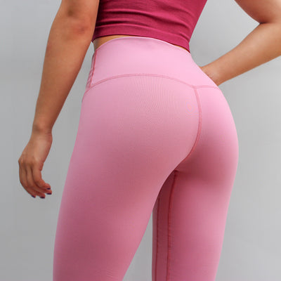 Solid Color Patchwork Leggings - Pink