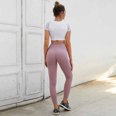 Peach Heart  Leggings Solid color - Pink