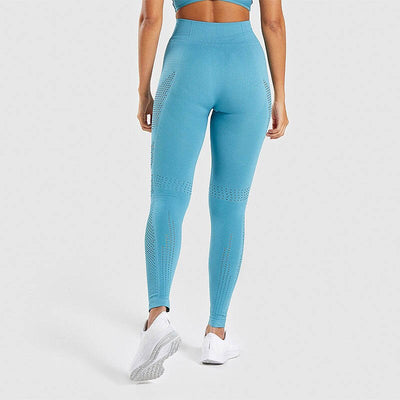 Hip Push Up Yoga Pants Seamless Leggings - Blue