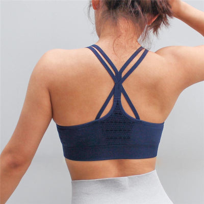 Push Up Seamless Sports Bra - Blue