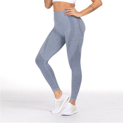Workout Sporting Seamless Leggings - Blue Gray