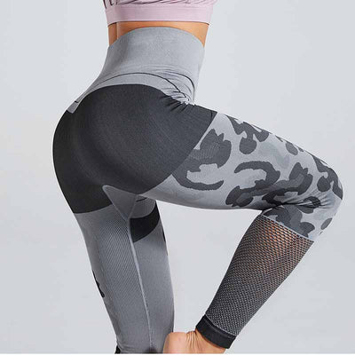 New Camouflage Knitted Seamless Leggings - Gray