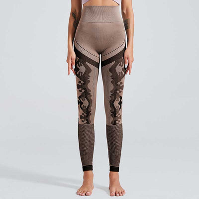 New Camouflage Knitted Seamless Leggings - Red