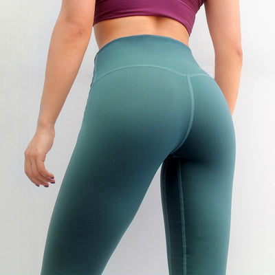 Solid Color Patchwork Leggings - Green