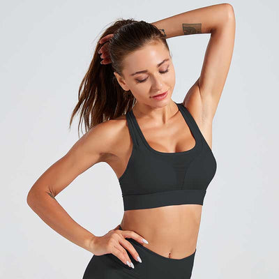 Sexy Shockproof Sports Bra Professional - Black