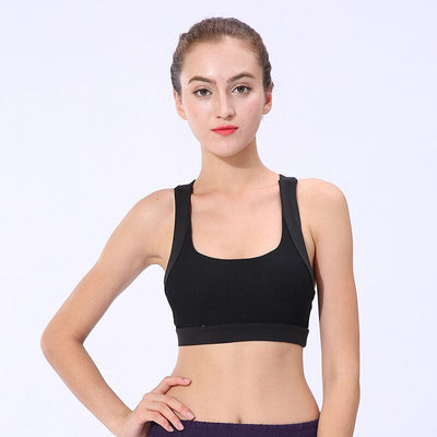 New Workout Sports Push Up Bra - Black