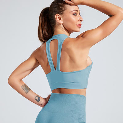 Women Sports Bra Fitness Running Tops - Blue