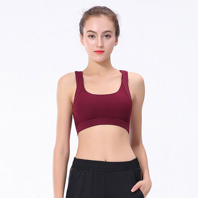 New Workout Sports Push Up Bra - Wine Red