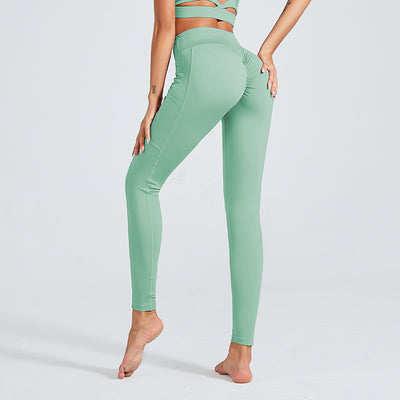 Women Workout Sports Leggings With Pocket - Green