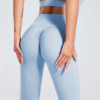 Women Workout Sports Leggings With Pocket - Light Blue