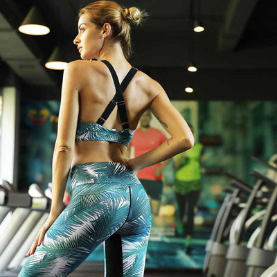 Floral Print Yoga 2 Piece Set Gym Suit-Blue