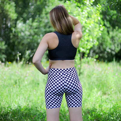 Printed Checkerboard  Yoga Shorts Plus Size