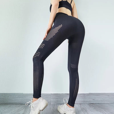 Women Seamless High Waist Leggings Peach Hip - Black