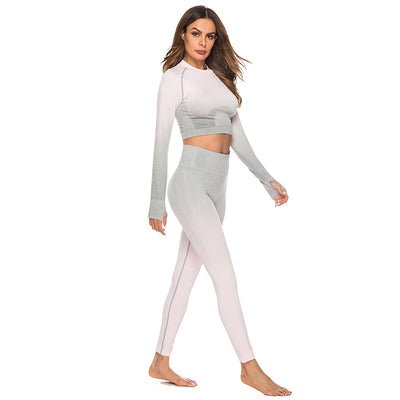 Workout Crop Tops Two Piece Sets - Pink Gray
