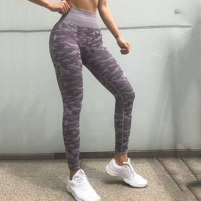 Women Workout  Camo Seamless Leggings - Purple