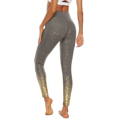 Women Yoga Pants - Sequin Printing Leggings - Dark Gray
